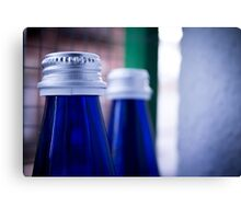 Gray stopper bottle of sparkling water blue glass Canvas Print