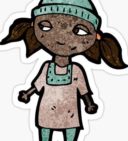 cartoon girl wearing hat Sticker