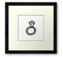 cartoon diamond engagement ring Framed Print