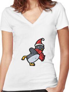 cartoon christmas penguin Women's Fitted V-Neck T-Shirt