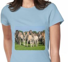 A Wild Herd of Dulmen Horses with Foals Womens Fitted T-Shirt