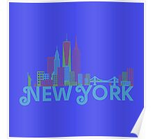 New York Colorful Skyline Poster