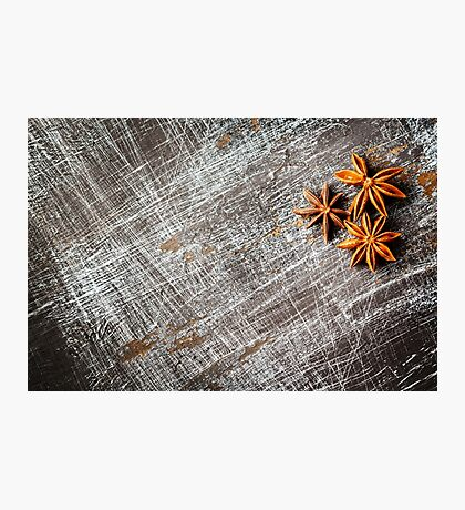 Food background with three star anise close up  Photographic Print