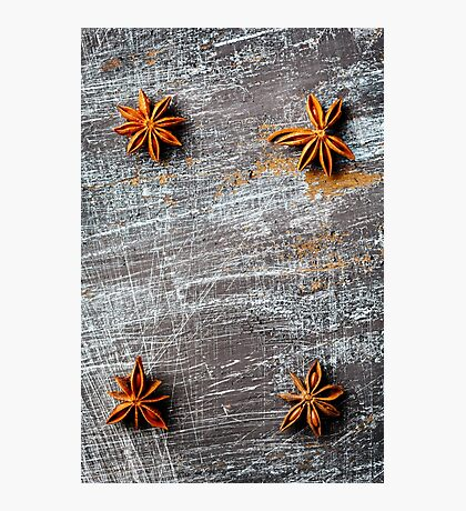 Vertical food background with four star anise  Photographic Print