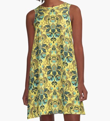 yellow damask cats A-Line Dress