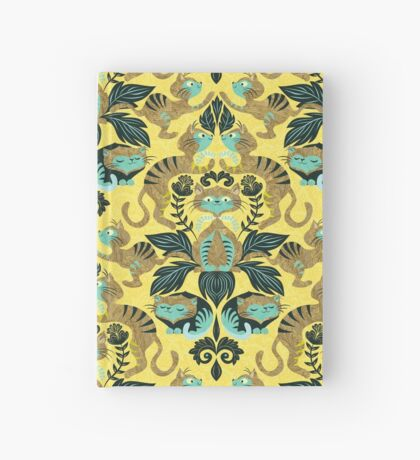 yellow damask cats Hardcover Journal