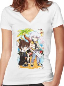 sora and riku  Women's Fitted V-Neck T-Shirt