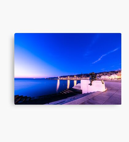 sunset in front of the city of Trieste Canvas Print