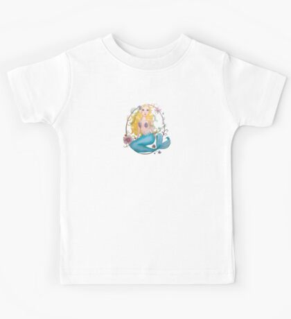 Mermaid with flowers Kids Tee