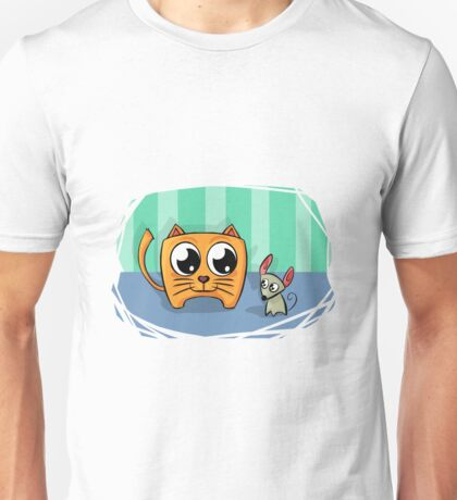 Cute and funny cat and mouse friends cartoon Unisex T-Shirt