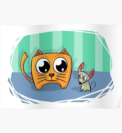 Cute and funny cat and mouse friends cartoon Poster