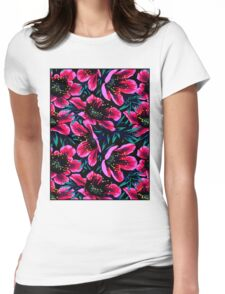 POPPIES; Colorful Flower Abstract Print Womens Fitted T-Shirt