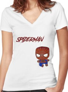 Baby Spiderman Women's Fitted V-Neck T-Shirt