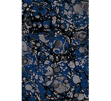 dark marbled dots blue black Photographic Print
