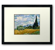 Vincent Van Gogh - Wheat Field With Cypresses 1889 Framed Print