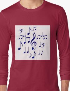 Singing The Blues Abstract Symbol Art Long Sleeve T-Shirt