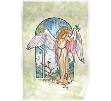 Angel of Spring Mucha Inspired Art Nouveau Angels of the Seasons Series Poster