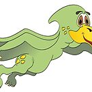 Green Pterodactyl Cartoon by Graphxpro