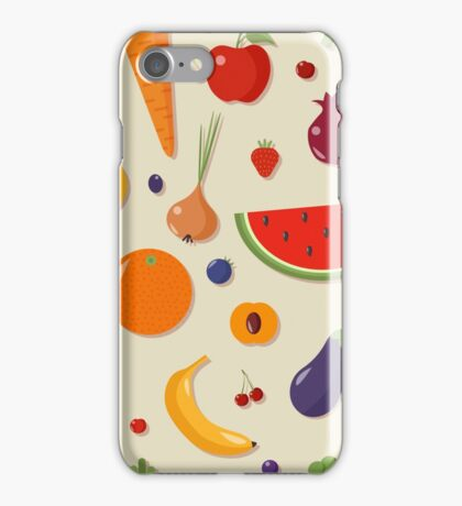 Healthy Food Seamless Pattern with Fruits and Vegetables iPhone Case/Skin