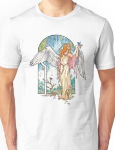 Angel of Spring Mucha Inspired Art Nouveau Angels of the Seasons Series Unisex T-Shirt
