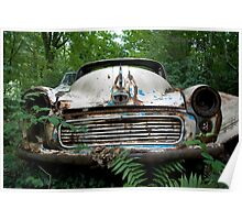 Rusty Car in Woods Poster