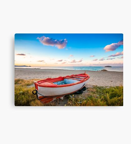 Boat of new year Canvas Print