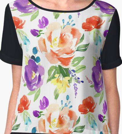 Red and Purple Watercolor Flower Pattern Chiffon Top