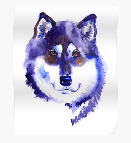 Watercolor Alaskan malamute Poster