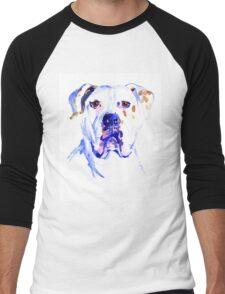 Watercolor American Bulldog  Men's Baseball ¾ T-Shirt