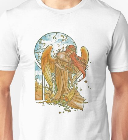 Angel of Autumn Mucha Inspired Art Nouveau Angels of the Seasons Series Unisex T-Shirt