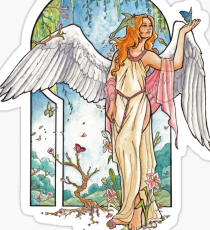 Angel of Spring Mucha Inspired Art Nouveau Angels of the Seasons Series Sticker