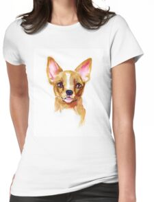 Watercolor Chihuahua Womens Fitted T-Shirt