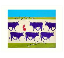 Cattle Guards Art Print