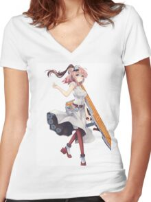 Fantasy Anime Girl Women's Fitted V-Neck T-Shirt