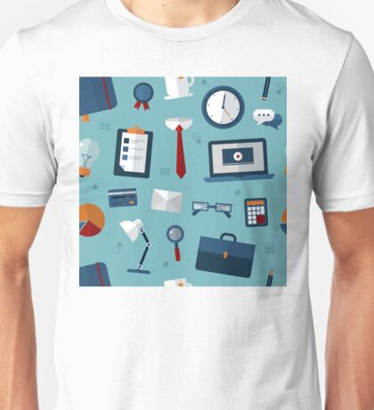 Office Seamless Pattern with Office Elements Unisex T-Shirt