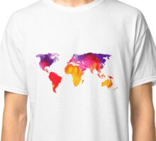Multicolour watercolour map of the world Classic T-Shirt