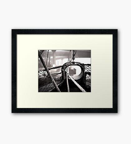 USS Slater in the morning fog Framed Print