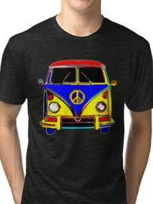 Peace Bus - Red, Yellow, and Blue Tri-blend T-Shirt