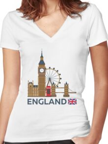 Travel to England, London skyline. Big Ban Women's Fitted V-Neck T-Shirt