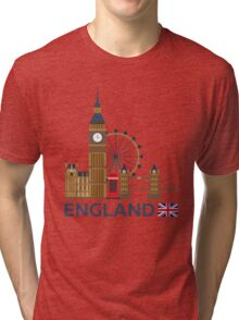 Travel to England, London skyline. Big Ban Tri-blend T-Shirt