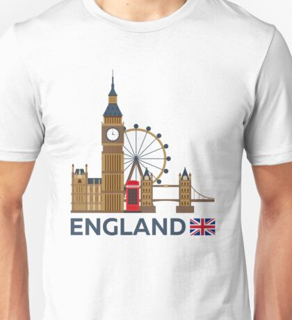 Travel to England, London skyline. Big Ban Unisex T-Shirt