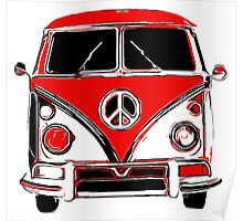 Peace Bus - Black & Red Poster