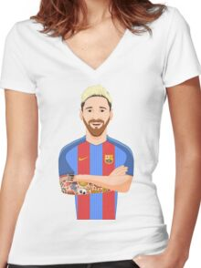 Toon Messi Women's Fitted V-Neck T-Shirt