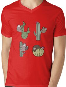 Cacti Sloths Mens V-Neck T-Shirt