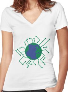 Earth Planet Home Blue Sphere Electric Electronic- network engineer shirt Women's Fitted V-Neck T-Shirt