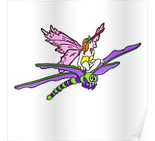 Dragonfly Riding Faerie Poster