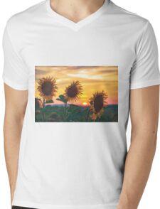 Sunflowers During Sunset Mens V-Neck T-Shirt