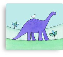 Purple Diplodocus Dinosaur Canvas Print