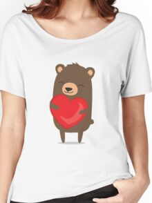 Cute cartoon bear holding heart Women's Relaxed Fit T-Shirt