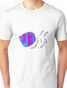 Psychedelic Fractal Teal and Purple Snail Shell Unisex T-Shirt